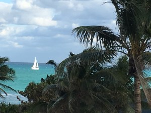 Amethyst Condominium Miami Beach unobstructed ocean view passing sailboat blue green ocean tradewinds