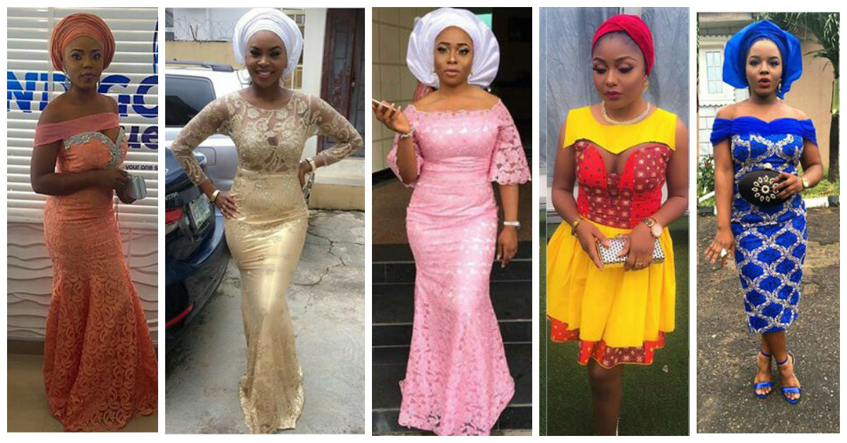Latest Lace And Ankara Aso Ebi Styles