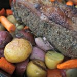 New York Strip Roast with roasted root vegetables