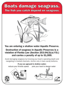 Seagrass violation warning sign
