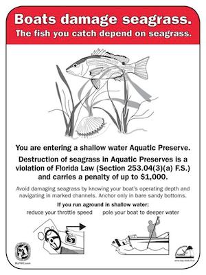 Seagrass violation warning sign