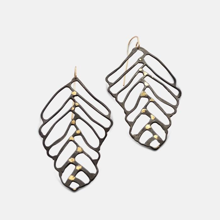 Amy Nordstrom - Black Silver & 18k Leaf Earrings