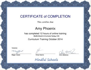 Mindful Schools Curriculum Training Certificate of Completion