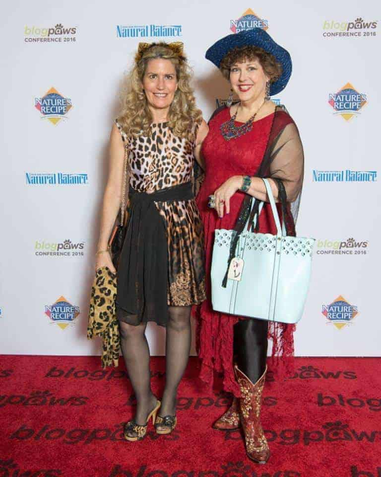 Deb Barnes & Amy Shojai on the red carpet. Copr. Silver Paw Studio