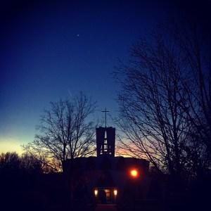 abbey church sunset