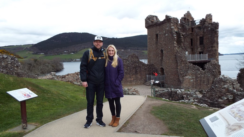 Touring the castle on the coast of Loch Ness. Built a long time ago and really cold