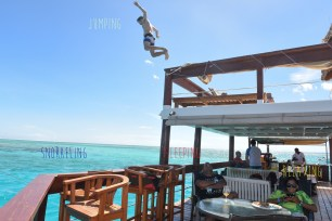 On Cloud 9 guests enjoying differents activities jumping snorkeling sleeping and relaxing