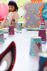 Birthday table at Lolipop's playground in Auckland with fairy chair