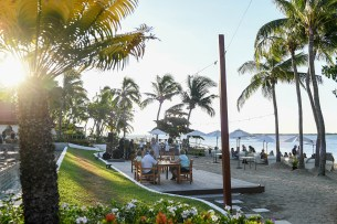 Beach of the Sofitel private club with an event on