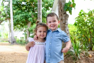 Cute brother and sister at villa in Malolo Island Resort Fiji