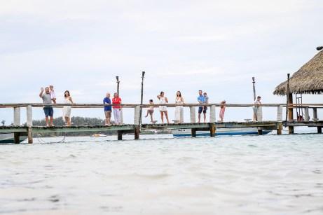 3 generations Extended family at pier in Malolo Island Resort Fiji family photoshoot