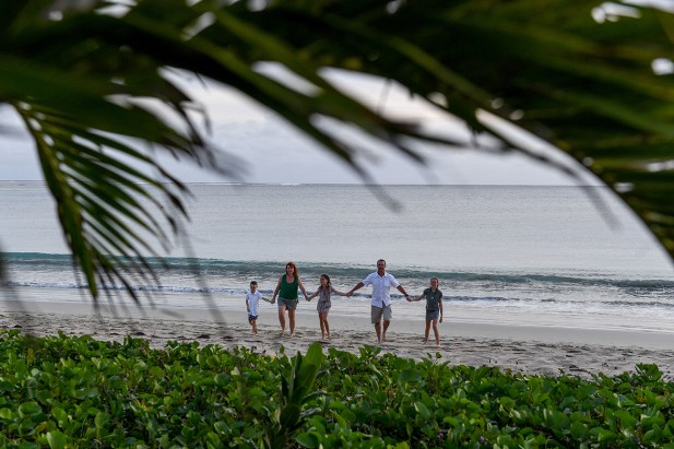 Wide shot through palm trees of family strolling in the beach in Fiji