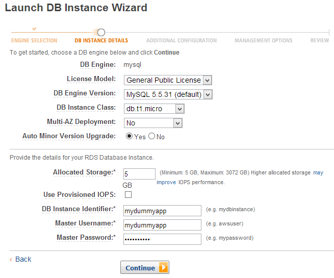 Amazon RDS - Create new instance