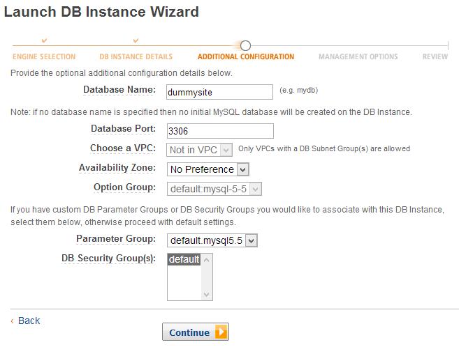 Amazon RDS - Create Site DB