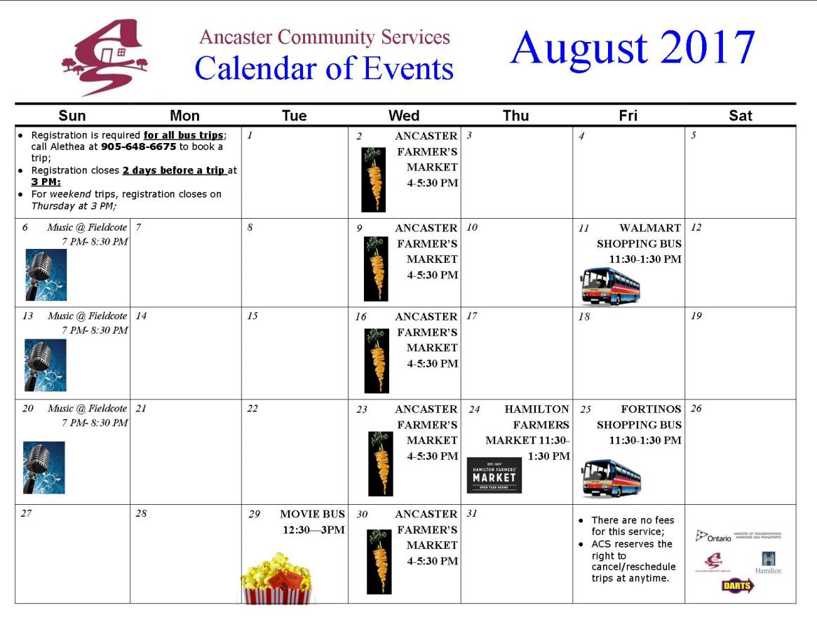 CB Events-Shopping Bus Calendar 2017 - August