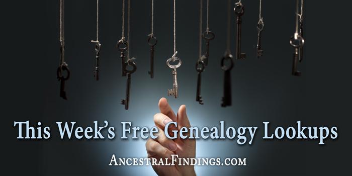 This Week's Free Genealogy Lookups (December 14)