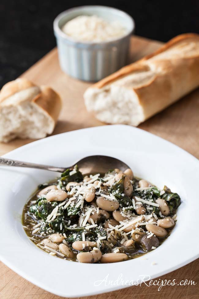 Tuscan Cannellini Beans with Mushrooms, Spinach, and Pesto - Andrea Meyers