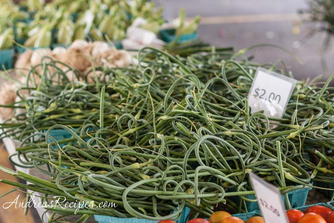 Andrea Meyers - Garlic scapes at the Central New York Regional Market