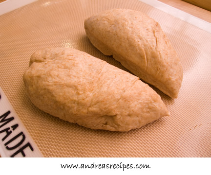 Andrea's Recipes - whole wheat dough for lavash, risen and divided