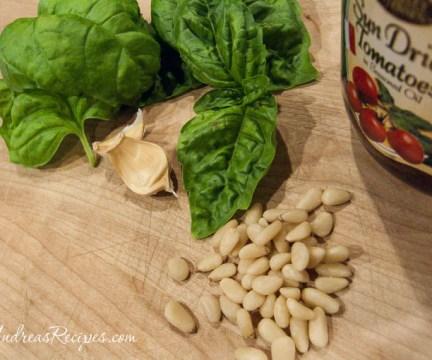 Pesto ingredients - Marseille basil, sun-dried tomatoes, garlic, pine nuts
