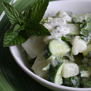 Healthy Green Kitchen - Watermelon Cucumber Mint Salad