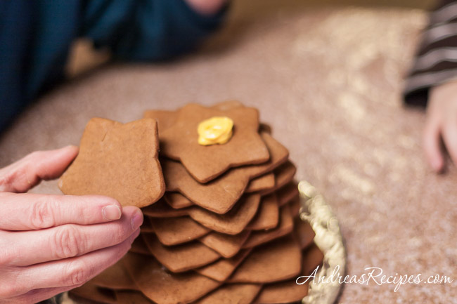 Andrea Meyers - stacking the gingerbread Christmas tree