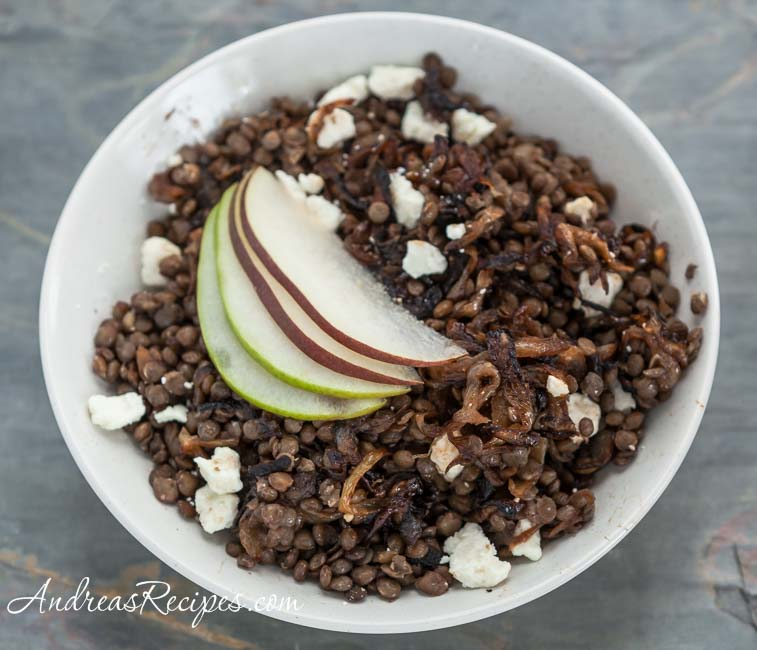 Andrea Meyers - Warm Green Lentil Salad with Caramelized Onions, Feta Cheese, and Pears
