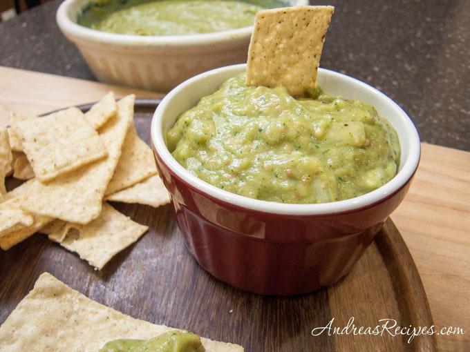 Andrea's Recipes - Roasted Tomatillo Jalapeno Salsa with Avocado