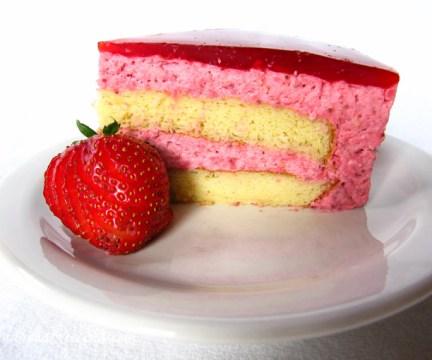 Slice of Strawberry Mirror Cake