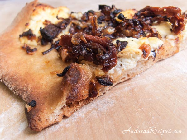 Whole Wheat Pizza with Caramelized Shallots, Sun-Dried Tomatoes, and Goat Cheese - Andrea Meyers