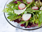 Andrea Meyers - Spring Greens Salad with Aspargus, Snow Peas, Radishes, and Honey Dijon Vinaigrette