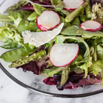 Spring Greens Salad with Asparagus, Snow Peas, Radishes, and Honey Dijon Vinaigrette - Andrea Meyers
