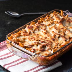 Baked Penne with Tomatoes and Mozzarella - Andrea Meyers