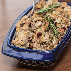 Gluten-Free Cornbread and Sausage Stuffing Recipe with Herbs - Andrea Meyers