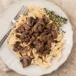 Andrea Meyers - Steak Tips with Mushroom Pepper Gravy