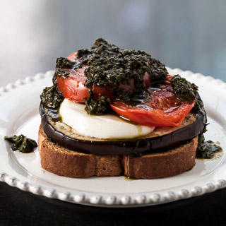 Open-Faced Grilled Eggplant Sandwich Recipe with Pesto, Tomatoes, and Fresh Mozzarella - Andrea Meyers