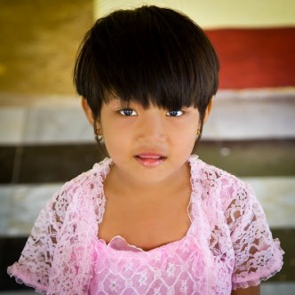 portrait of small girl in Bagan, Myanmar