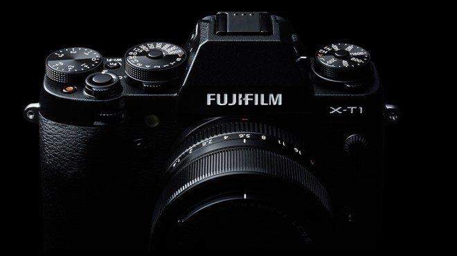 Fuji X-T1 camera view from front