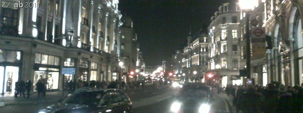 BRIGHT LIGHTS OF REGENT STREET_Regent Street this evening (sorry about the poor quality of photo - blame my awful Nokia phone).