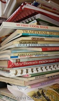 KUKE BUKES_Just one of the piles of cook books and recipe cards sorted through.