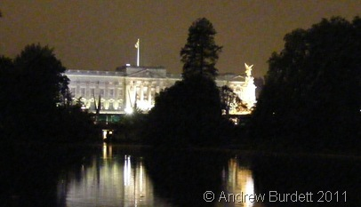 BUCK HOUSE BY NIGHT_A rather poor-quality photo of Buckingham Palace.