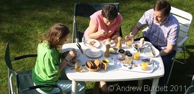 BREAKFASTING_Enjoying breakfast on the lawn.