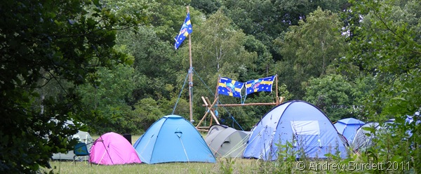 SITED HERE_Our camp, with entrance and flagpole constructed out of pioneering poles.