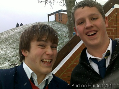 Whilst everyone else was going home at the start of the Christmas holidays, I took this photo of me and Tom Stern, just after a sprinkling of snow fell on the school.