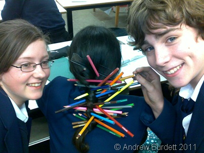 Matilda Rose and Sam Ralphs posted pens into the ponytail of Erin Kyle-Davidson, amazingly without her even noticing!