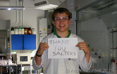 THANKS VERY MUCH_I pose with a message; an image I attempted to transfer via cyanotype, but it didn't work properly.