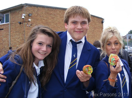 CHEEKY CHAPPY_Sarah Donlon, myself, and Alisha Cox, with the buns our friend Chloe Banks made.