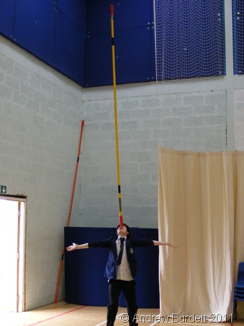BALANCING ACT_Myles Ranking balancing a pole on his nose.