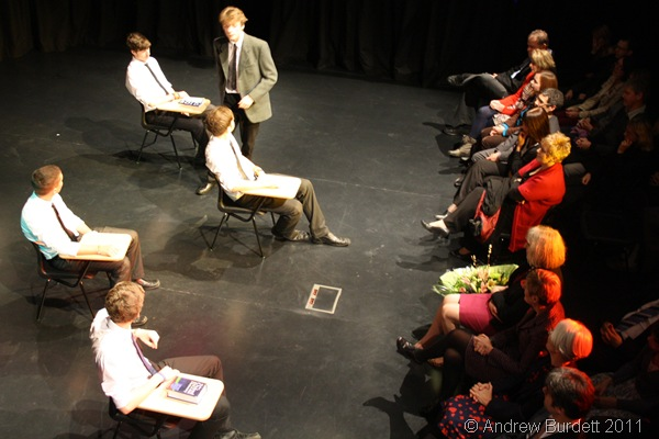 THE HISTORY BOYS_A sixth former portrays the character of Hector, in the opening scene from Alan Bennett's 2004 play.