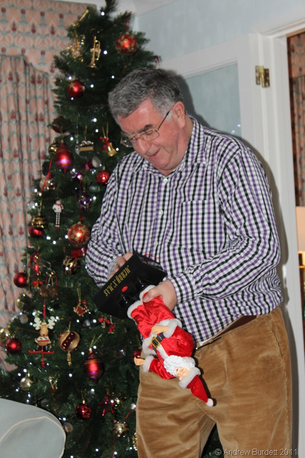 PUT A STOP TO THAT_Andrew, irritated by the repeating music and annoying dancing, removed the battery from the toy and shut Santa up.